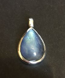 Vibrant Teardrop Rainbow Moonstone Pendant Silver 'One-Off'